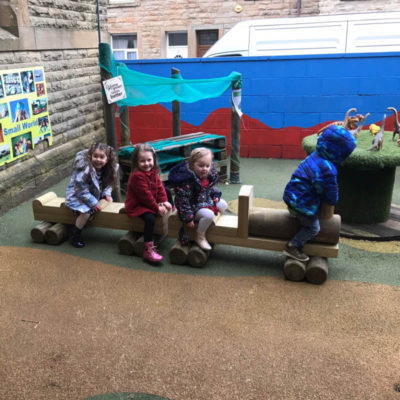 2 piece wooden train bench for schools or nurseries