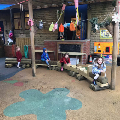 4 piece wooden train bench for schools or nurseries