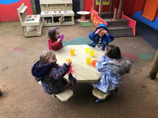 Solid wooden octagon table and bench seats for school