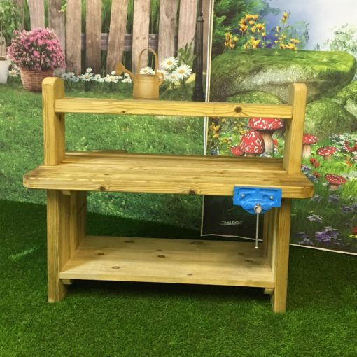 varnished wooden workbench for playgrounds