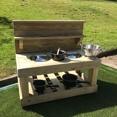 wooden mud kitchen from Discovering Days