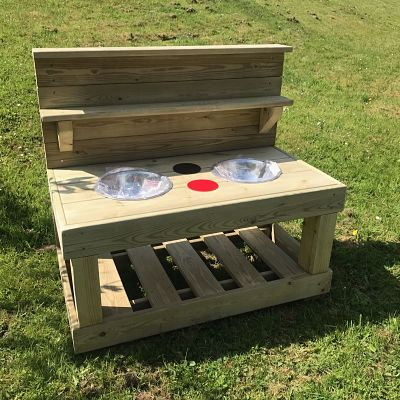 small wooden mud kitchen for school playgrounds