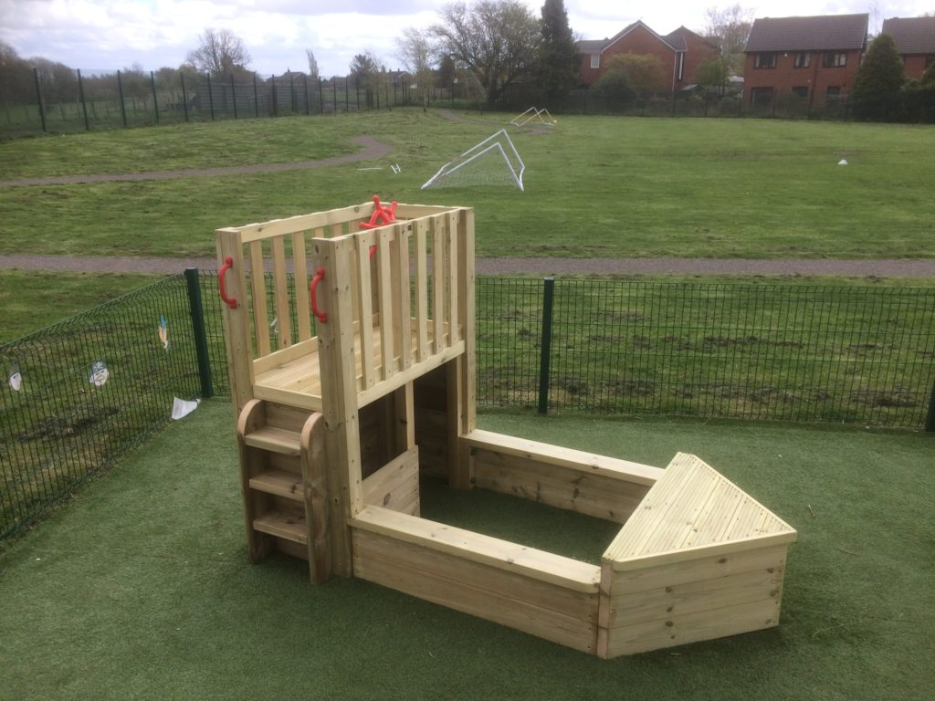 Wooden boat for school playground