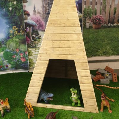 wooden teepee for nursery and school playgrounds