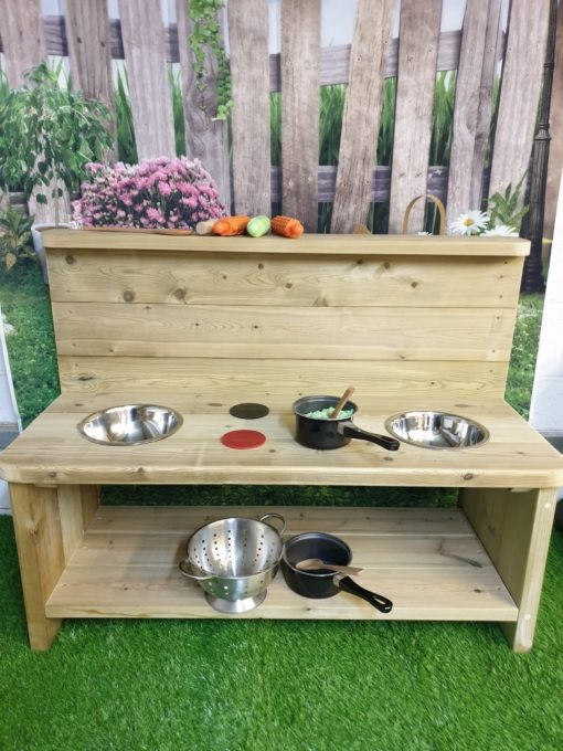 large wooden mud kitchen with storage space unpainted