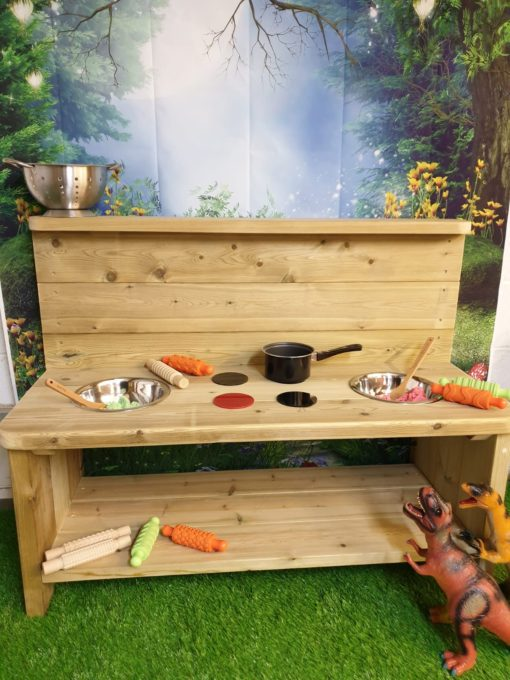 Plain wooden mud kitchen large