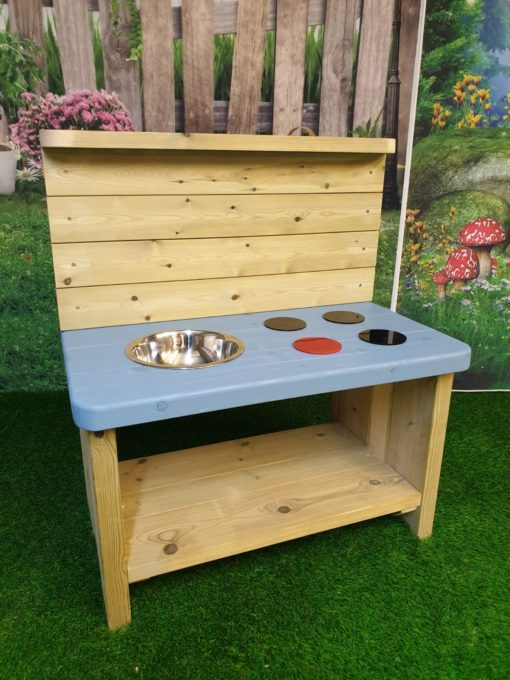 single bowl wooden mud kitchen painted