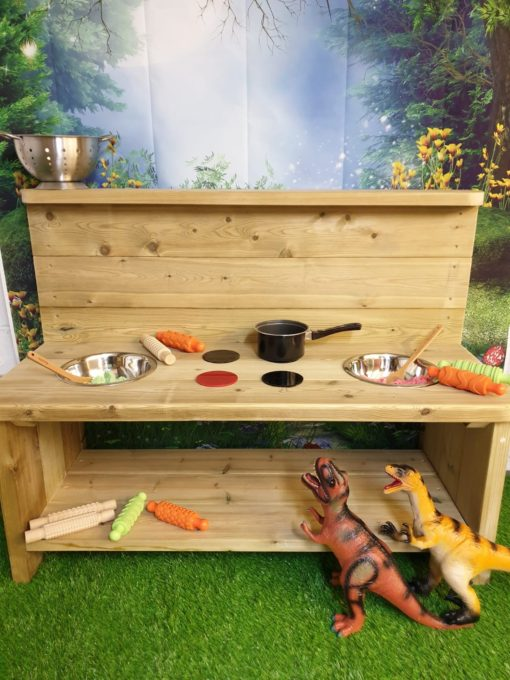 large plain wooden mud kitchen large