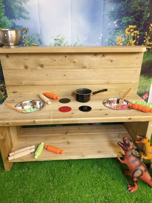 Balmoral wooden mud kitchen with storage space unpainted