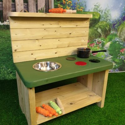 Caernarvon Basic Mud Kitchen with dark green worktop