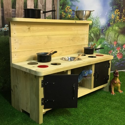 high backed Buckingham Deluxe Mud Kitchen with two doors an eight hobs