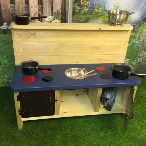 two doors and a blue top on this Buckingham Deluxe Mud Kitchen