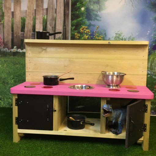 pink Buckingham Deluxe Mud Kitchen with mixing bowls and doors