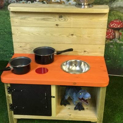 Kensington wooden mud kitchen orange top and black door from Discovering Days