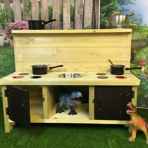 high topped unpainted Buckingham Deluxe Mud Kitchen with eight hobs and two doors