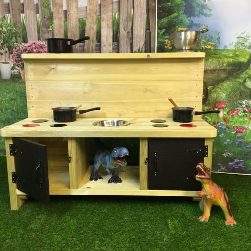 image of Buckingham Deluxe Mud Kitchen with black doors and eight hob rings